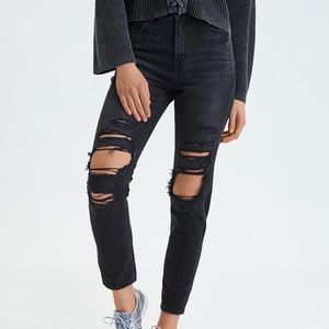American Eagle distressed mom jeans